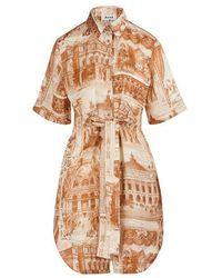 Acne Studios Printed Midi Dress - Natural