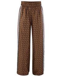 Burberry Monogram Stripe Print Silk Pants - Brown