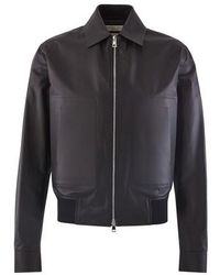 Bottega Veneta Calfskin Leather Jacket - Black