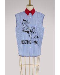 Prada - Striped Sleeveless Shirt - Lyst