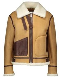 Loewe Shearling Aviator Leather Coat - Multicolour