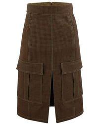Chloé Blended Wool Skirt - Brown