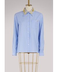 Miu Miu - Striped Shirt With Embroidered Collar - Lyst