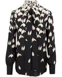 Valentino Bucaneve Snowdrop Flower Print Crepe Couture Dress - Black