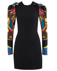 Versace Contrast Sleeved Mini Dress - Black