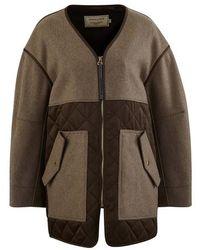 Maison Kitsuné Quilted Coat - Brown