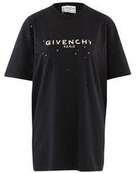 Givenchy T-shirt coupe masculine Destroy - Noir