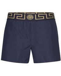 Versace Navy Greca Border Swim Shorts - Blue