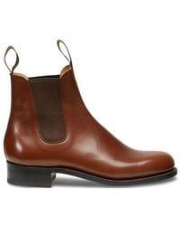 J.M. Weston Bergeronnette Calf Cambre Box Wagtail Boots - Brown