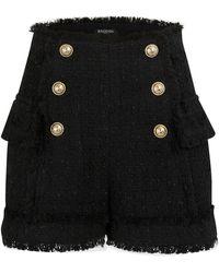 Balmain Tweed Shorts - Black