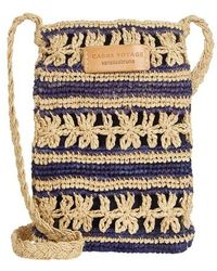 Vanessa Bruno Raffia Embroidered Phone Clutch Bag - Blue