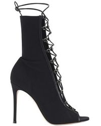 Gianvito Rossi Laced Heeled Booties - Black