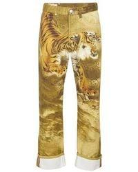 Dries Van Noten Tiger Printed Jeans - Natural