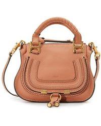 Chloé - Brown Mini Marcie Double Shoulder Bag - Lyst