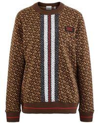 Burberry Tb Crew Neck Sweatshirt - Brown