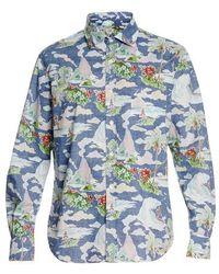 Hartford Hawaiian Print Shirt - Blue