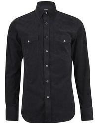 Tom Ford Westernhemd aus leichtem Cord - Schwarz