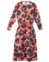 Marni Robe longue à imprimé abstrait - Rouge