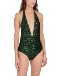 Oséree Sequin Embellished V-neck One-piece - Green