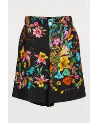 Gucci Floral Pattern Shorts - Black