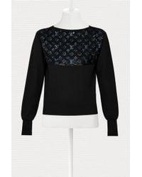 Louis Vuitton Jumper With Monogram Embroideries - Black