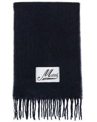 Marni Schal aus gebürstetem Alpaka - Blau