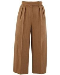 Max Mara Peplo Camel Hair Trousers - Natural