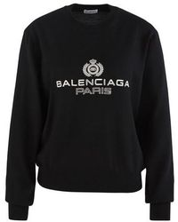 Balenciaga Logo-embroidered Sweatshirt - Black