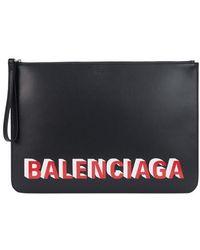 Balenciaga Pochette Zippée En Cuir Imprimé Logo - Noir