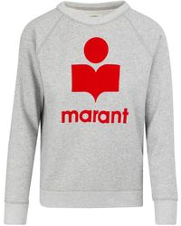 Étoile Isabel Marant Sweat-shirt en coton mélangé à logo floqué Moby - Gris