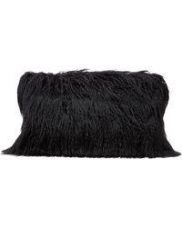 Dries Van Noten Faux Fur Clutch - Black