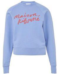 Maison Kitsuné Sweatshirt Handwriting - Bleu