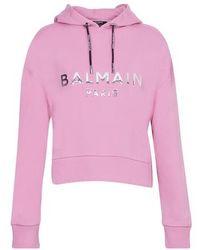 Balmain Sweatshirt à capuche logo - Rose