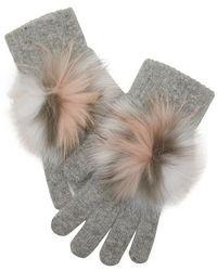 Yves Salomon Gloves With Fur - Gray
