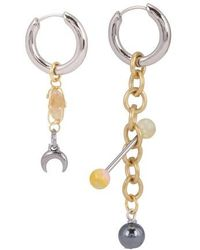 Marine Serre Regenerated Psychotropic Chain Earrings - Metallic