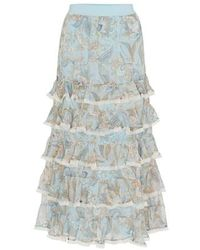 Zimmermann Ladybeetle Frill Skirt - Blue