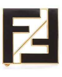 Fendi Enamel Ff Brooch - Black