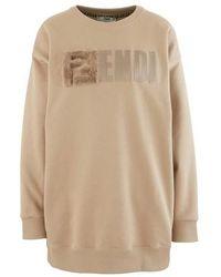 Fendi F Round Neck Sweatshirt - Natural