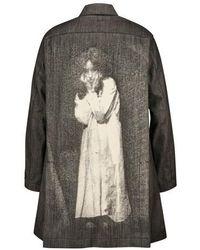 Undercover Manteau imprimé en jean - Noir