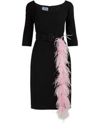 Prada Feather-trimmed Dress - Black