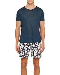 Orlebar Brown T-shirt en lin Ob-t Linen à coupe ajustée et à col rond - Bleu