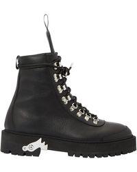 Off-White c/o Virgil Abloh Black Eyelets Leather Hiking Boots
