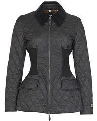 Burberry Rib Knit Panel Diamond Quilted Barn Jacket - Black