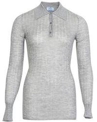 Prada Long-sleeved Polo Shirt - Grey