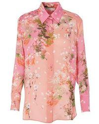 Givenchy Floral Print Silk Shirt - Pink