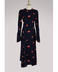 Victoria Beckham | Long Sleeves Asymmetrical Dress | Lyst
