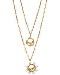 Fendi F Double Chain Necklace - Metallic