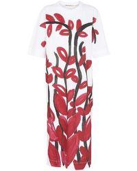 Marni Short Sleeves Flower Print Midi Dress - Red