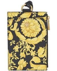 Versace Barocco Leather Card Case - Yellow