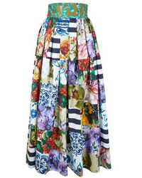 Dolce & Gabbana Patchwork Long Skirt - Blue